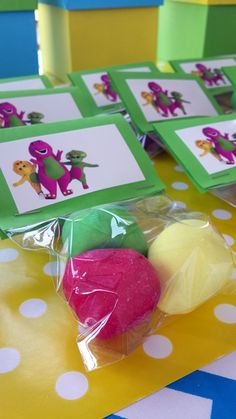 Sweets in Packets with Barney Bag Toppers