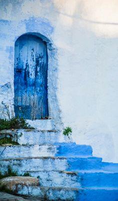 Morocco, blue door, steps, wooden door, weathered, cracks, beauty, lovely, doorway, portal, entrance