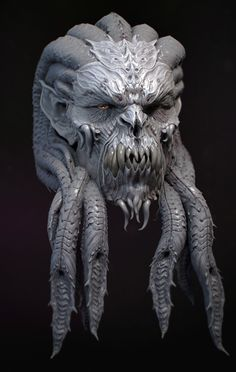 Demon head design by kevin demuynck on ArtStation. Humanoid Creatures, Alien Creatures, Fantasy Creatures, Alien Character, Character Art, Character Design, Zbrush Character, Fantasy Monster, Monster Art