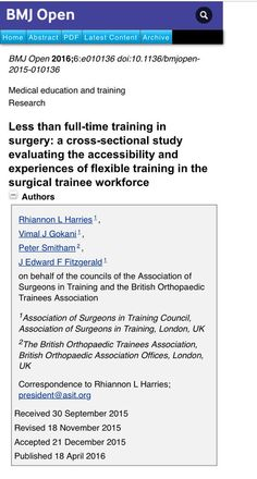 Less than full-time training in surgery: a cross-sectional study evaluating the accessibility and experiences of flexible training in the surgical trainee workforce  #AssociationofSurgeons #AssociationofSurgeonsinTraining #BritishOrthopedicTraineeAssociation #Health_Medical_Pharma #Labor #medicine #surgery Check more at...