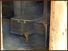 Old stove in one of the building on the Quesnel Forks Historic Site Old Stove, Ghost Towns, Forks, Historical Sites, Building, Painting, Bobby Pins, Buildings, Paintings
