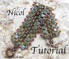 Czech SuperDuo  two-hole beads, Czech Tile beads, Swarovski bicones, Miyuki round seed beads 8/0, 11/0,15/0,  Toggle clasp