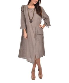 This Taupe Pocket Linen Shift Dress - Plus Too is perfect! #zulilyfinds