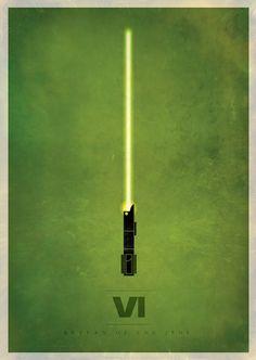 Star Wars: Episode VI - Return of the Jedi (1983) ~ Minimal Movie Poster by Rameez Quadri ~ Minimalist Lightsabers Series #amusementphile