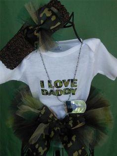 Newborn Baby Camo Tutu w I Love Daddy Onesie Headband I Love Daddy Dog Tag   eBay