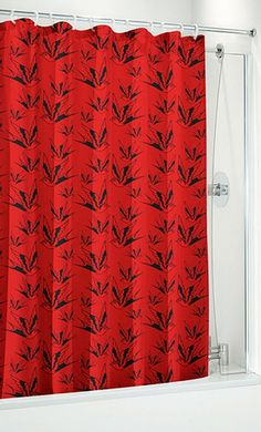 To go with my red & black bedroom & bathroom: Sparrow and Dots Rockabilly Shower Curtain $18