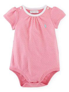 Pin Dot Cotton Bodysuit - Baby Girl One-Pieces - RalphLauren.com