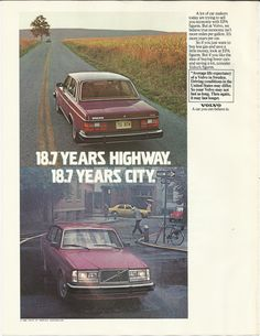 Volvo Automobile Original 1981 Vintage Print Ad Color Photo Red Car 18.7 Years Highway City Sweden
