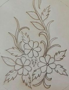 Floral Embroidery Patterns, Embroidery Flowers Pattern, Hand Embroidery Designs, Embroidery Art, Embroidery Stitches, Flower Art Drawing, Wreath Drawing, Fabric Painting, Dot Art Painting