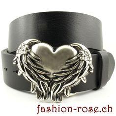 Ein echte Hingucker Set mit Ledergürtel Wechselschnalle Herz mit Flügel Rind, Cuff Bracelets, Belt, Accessories, Jewelry, Fashion, Two Hearts, Amulets, Silver Jewellery