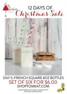 Day 5 of The 12 Days of Christmas! French Square Bottles are on SALE! Hurry, while supplies last! shoptomkat.com