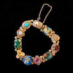 Vintage 14K Gold Enamel Gemstone Slide Bracelet  FROG PANSY LADYBUG CROWN BEE  #Chain
