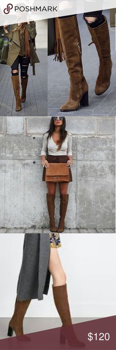 Zara knee high boots Suede leather knee high leather zara boots.. Zara Shoes Over the Knee Boots