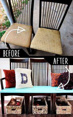 Отличный вариант создать комфортную лавку из стульев для дома.