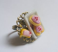 Scented or Unscented Pink Heart Sugar Cookies Miniature Food Ring - Miniature Food Jewelry