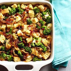 This make-ahead brunch casserole is flavor-packed with fresh broccoli, gooey cheese, and sweet caramelized onions.
