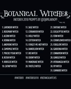 Botanical Witches Inktober Prompts by Drawing Ideas List, Drawing Tips, Drawing Reference, Drawing Drawing, Drawing Practice, Drawing Meme, 30 Day Drawing Challenge, Art Style Challenge, Art Journal Challenge
