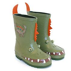 Dinosaur Rain Boots: These are made of natural rubber and have a soft polyester lining.