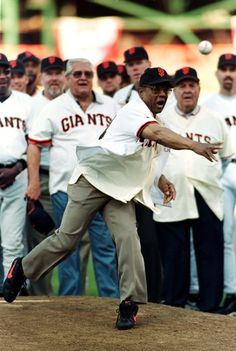 30 Sep 1999: Willie Mays of the San Francisco Giants throws the last pitch during the last game at 3 Com Park, commonly known as Candlestick Park, against the Los Angeles Dodgers at 3 Com Park in Sa