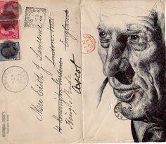 Mark Powell - Bic Biro drawing on 1892 envelope. Collages, Mark Powell, Biro Drawing, Ballpoint Pen Art, Drawing Interior, Book Page Art, Going Postal, Drawing Exercises, Envelope Art
