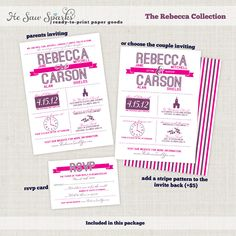 Choose your colors - Printable Wedding Invitation - The Rebecca Collection. $35.00, via Etsy.