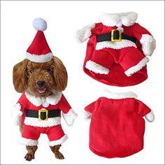 NACOCO Pet Christmas Costumes Dog Suit with Cap Santa Suit Dog Hoodies (Medium) - http://www.thepuppy.org/nacoco-pet-christmas-costumes-dog-suit-with-cap-santa-suit-dog-hoodies-medium/