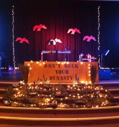 "My mom's stage design for our ""Don't Duck You're Dynasty"" (Duck Dynasty) series at Church Duck Dynasty, Dynasty Series, Vbs 2016, Vacation Bible School, Stage Design, Sunday School, Rodeo, Ministry, Cool Kids"
