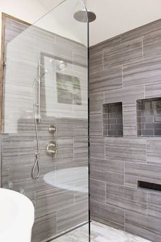 Very Rustic Shower With The Wood Looking Porcelain Tiles On The Walls. We  Have Many Wood Types And Colors In Our Oceanside Showroom To Choose Frou2026
