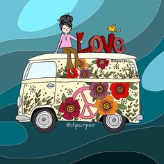 Love love love is all we need ❤️ Happy Hippie, Hippie Love, Hippie Art, Vw T1, Volkswagen, Love Is All, Peace And Love, Combi Hippie, Van Drawing