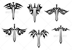 Tribal Tattoos with Swords and Daggers #GraphicRiver Tribal tattoos with swords and daggers for design. Editable EPS8 (you can use any of your vector program) and JPEG (can edit in any graphic editor) files are included SPORTS MASCOTS MEDICINE FOOD LABELS WEDDING DESIGN ELEMENTS FLORAL OBJECTS WEB ICONS ANIMALS Created: 14May13 GraphicsFilesIncluded: JPGImage #VectorEPS Layered: No MinimumAdobeCSVersion: CS Tags: abstract #art #banner #black #blade #dagger #danger #death #decoration #design…