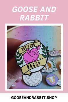 Grab this vegan enamel pin, click through to view more vegan enamel pins. Perfect Mother's Day Gift, Etsy Business, Cute Designs, Pin Collection, Soy Candles, Stocking Stuffers, Bacon, Best Gifts, Etsy Seller