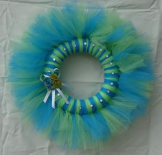 Light Green And Blue Tulle Wreath