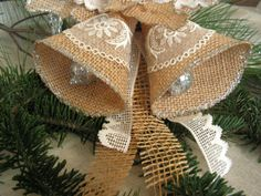 Christmas  Bell  Ornament Burlap Ornament. by Mydaisy2000 on Etsy