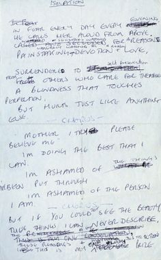 """Lyrics for """"Isolation"""", Joy Division, written in Ian Curtis' own hand"""