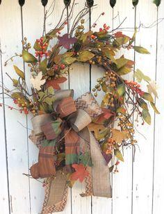 Fall Leaf  Wreath,Fall Burlap Leaf Wreath,fall Wreath,autumn Wreath, Pumpkin Wreath,Thanksgiving Wreath, Rustic Fall Wreath