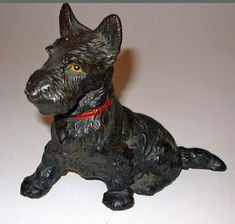 Vintage Hubley Scottie Dog Solid Cast iron Doorstop in Great Paint