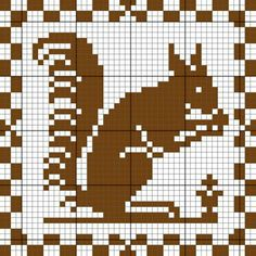 squirrel, free chart by Journal des Demoiselles Just Cross Stitch, Cross Stitch Animals, Cross Stitch Charts, Cross Stitch Designs, Cross Stitch Patterns, Cross Stitching, Cross Stitch Embroidery, Embroidery Patterns, Needlepoint Patterns