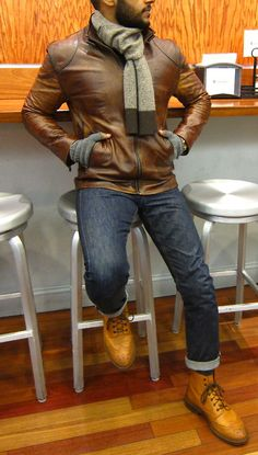 Leather Jacket, Raw Selvage Denim and Brogue Boots
