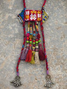 Ethnic necklace with five large Uzbek tassels