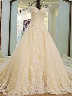 A-line Princess Off-the-Shoulder Wedding Dresses, Gorgeous Appliqued Wedding Dresses. ASD2626