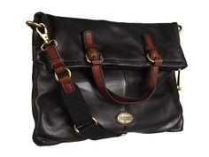 Fossil Explorer Leather Foldover Flap Tote Shoulder Bag