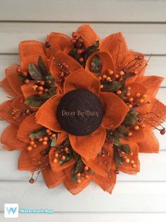This gorgeous DIY orange fall sunflower wreath decor is the perfect way to decorate this upcoming fall season! Crafted using a small Unique in the Creek flower wreath board, this fall sunflower wreath by Decor by Mary includes amazing details! Diy Fall Wreath, Wreath Crafts, Fall Wreaths, Sunflower Burlap Wreaths, Burlap Flowers, Wreath Burlap, Frame Wreath, Deco Mesh Wreaths, Making Ideas
