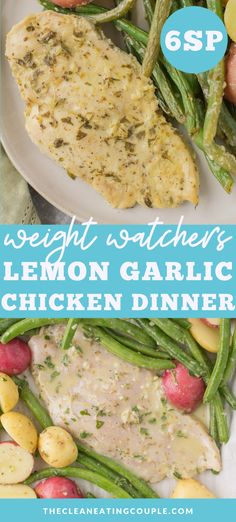 Lemon Garlic Chicken is a delicious one pan dinner. Easily baked in the oven, instant pot, or slow cooker - it's filled with flavor, healthy Clean Eating Recipes, Healthy Eating, Healthy Recipes, Lemon Green Beans, Lemon Garlic Chicken, One Pan Dinner, Chicken Marinades, Paleo Whole 30, Weight Watchers Meals