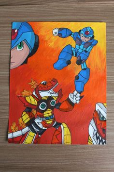 Megaman X vs Mattrex painting by MargaritaMakes on Etsy