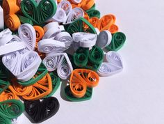Hearts Halloween Orange Green Black White, Quilled Confetti, Handmade Paper Quilling Art, Home Decoration Idea, Table Ornaments, 150 pcs. This listing is for 150 pieces (50 orange for pumpkins, 50 green for greenery, 25 white for ghosts, 25 black for spiders). Dimensions of one heart are 1/2 ″ x 1/2 ″ (2 cm x 1.5 cm). Made from 1/8 ″ (3 mm) paper strips of 90 g/m2 paper.