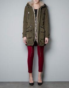 PARKA WITH NATURAL FUR LINING - Coats - Woman - ZARA
