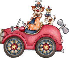 Clown & Dog in a Windup Car