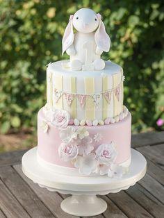 Bunny 1st birthday cake | via www.thecakeworks.com