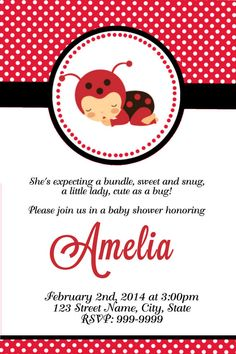 printable ladybug baby shower invitation ladybug birthday party invitation lady bug invitation