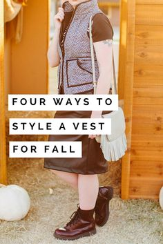 Four ways to style a vest for fall including an outfit idea for the J Crew herringbone vest, a white fur vest, brown fur vest and black puffer vest. Whether your style is preppy, edgy or something in between - click through for four unique outfit ideas for your favorite vests this fall.